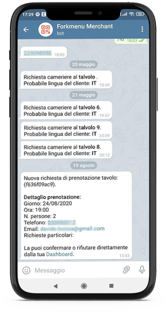 Telegram e Menu Digitale
