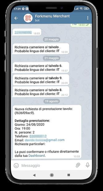 Telegram e Menu Digitale