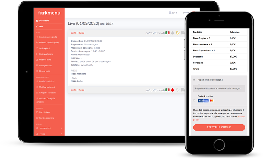 Menù Digitale interattivo con pagamento online e Booking prenotazione tavoli