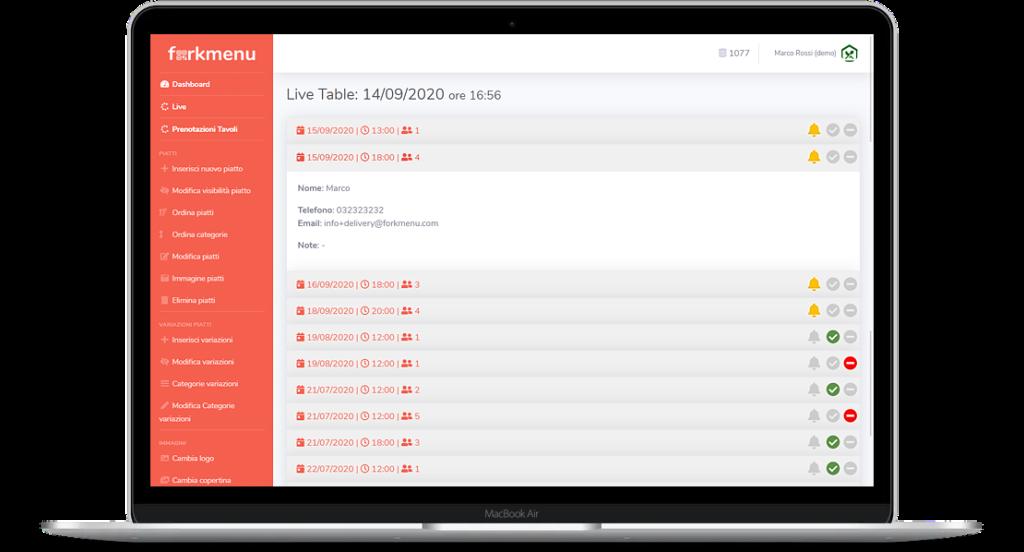 Dashboard Menu Digitale Booking prenotazione tavoli online