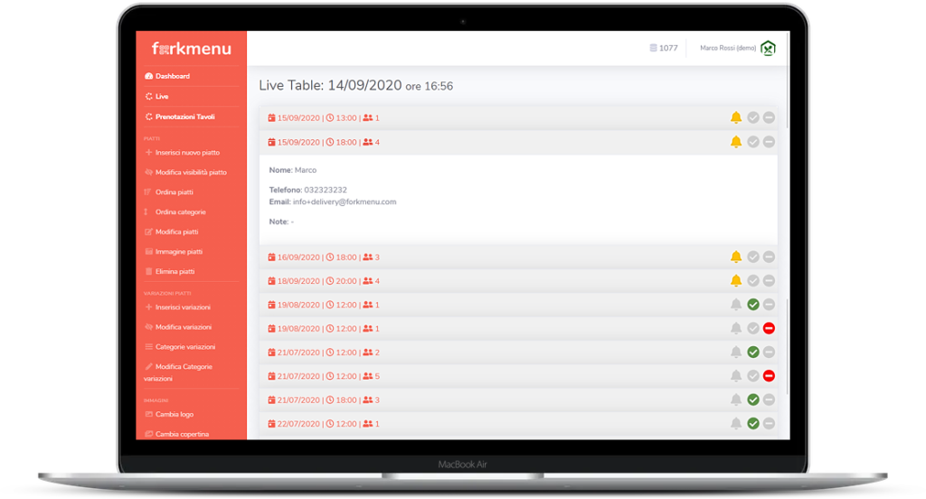 Sistema di gestione e-booking prenotazione tavoli online Menu Digitale