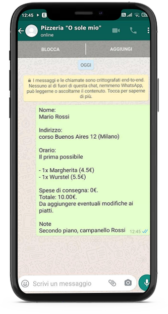 Invio ordine Delivery Menu Digitale WhatsApp