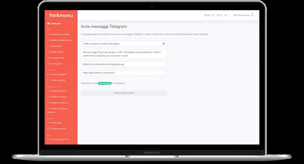 Come funziona il Direct Marketing del Menu Digitale di Forkmenu con Telegram?