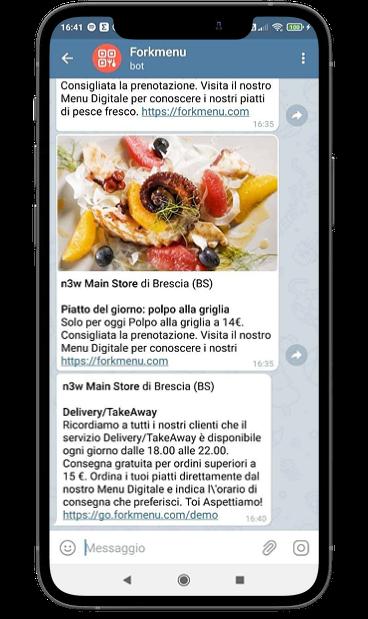 Il ristoratore può utilizzare Telegram per inviare offerte a tempo limitato,